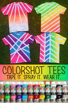 Make your own fabric spray paint tees using Tulip ColorShot. Tape it. Spray it. Wear it! So vibrant for summer! Make your own fabric spray paint tees using Tulip ColorShot. Tape it. Spray it. Wear it! So vibrant for summer! Fabric Spray Paint, Fabric Painting, Spray Paint Shirts, Fabric Paint Shirt, Tulip Fabric Paint, Spray Paint For Clothes, Spray Paint Crafts, Camping Crafts, Fun Crafts