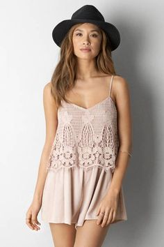 AEO Crochet Front Romper  by AEO | Perfect for every beach day.  Shop the AEO Crochet Front Romper  and check out more at AE.com.