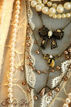 Vintage Jewelry pearls and lace... Find Everything you need to re-create this look at Sleepy Poet Antique Mall!