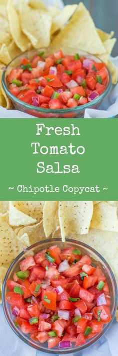 An easy recipe for copycat Chipotle Tomato Salsa (Pico de gallo). Mild in flavor (or make it spicier to taste!), it only takes 5 ingredients to make this delicious, fresh tomato salsa at home. Paleo Appetizers, Appetizer Recipes, Fondue Recipes, Gazpacho, Chipotle, Guacamole, Paleo Side Dishes, Healthy Snacks, Healthy Recipes