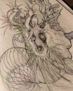 "1,642 Likes, 20 Comments - David Hoang (@davidhoangtattoo) on Instagram: ""Dragon sketch. #dragon #irezumicollective #irezumi #chronicink #tattoo #asianink #asiantattoo…"""