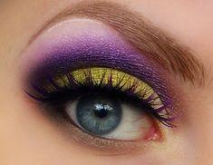 yellow and purple makeup