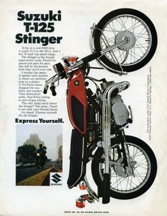 The Suzuki (twin cylinder) Stinger. This was a bike that interested me very much. Bike Poster, Motorcycle Posters, Retro Motorcycle, Japanese Motorcycle, Suzuki Motorcycle, Vintage Cycles, Vintage Bikes, Vintage Motorcycles, Suzuki Bikes