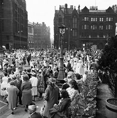 Participants of the Manchester Whit Walksgather outside the town hall, Greater Manchester. 6th June 1960 #Vintage #Classic #Old #Retro #Historic #OldFashioned #Manchester #MCR #NorthWest #photos #photographs #pictures #images #prints