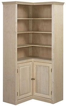 Maple Federal Crown Corner Bookcase with Doors para el hogar Custom Bookshelves, Corner Bookshelves, Bookcases, Book Shelves, Bookshelf Ideas, Corner Hutch, Kitchen Corner, Corner Storage, Bookcase Door