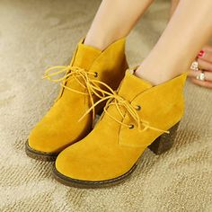 Womens Sweet Candy Faux Suede Lace Up Chunky Block Heel Round Toe Ankle Boots