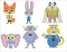 BOGO FREE ZOOTOPIA Characters cross stitch by Rainbowstitchcross
