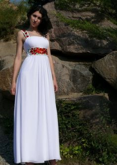 oh god poppies Empire Silhouette Long Wedding Dress in by