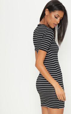 a19717ef3c Monochrome Stripe Short Sleeve Bodycon Dress