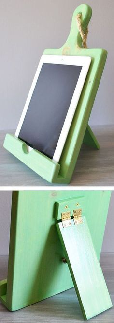 Wood Cutting Board Cookbook & Tablet Stand ♥ #kitchen #recipes Hinged stand