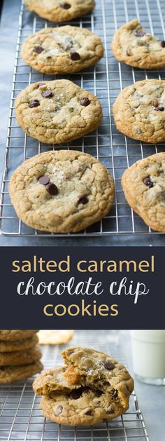 Salted caramel adds a delicious twist to classic chocolate chip cookies. Easy to make, easy to love! via @nourishandfete