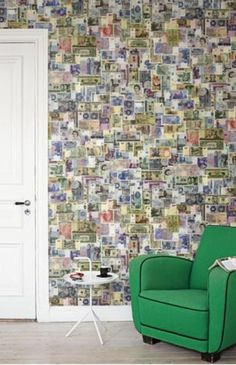 Money Wall wallpaper mural designed by J. Home Wallpaper, Handmade Home, Wall Colors, Colours, Designer Wallpaper, Wall Murals, Diy Home Decor, Photo Wall, Coffee Club