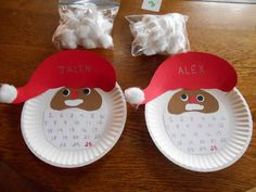 Advent countdown Santa....Cut hat shape, face, eyes, mustache and beard from cardstock and glue to paper plate. Number the beard 1-25. Add a cotton ball for pompom. Count out 25 cotton balls and glue one on each day until Santa's beard is filled in.