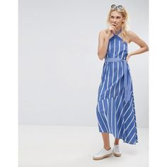 ASOS Halter Neck Maxi Dress in Mixed Cotton Stripe (€46) ❤ liked on Polyvore featuring dresses, multi, tall maxi dresses, halter top maxi dress, halter prom dresses, maxi prom dresses and striped dresses