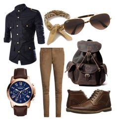 """""""classicnavy"""" by juanjoduarte ❤ liked on Polyvore featuring Balmain, Steve Madden, Topman, Ray-Ban, FOSSIL, men's fashion and menswear"""