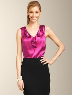 Talbots - Silk Charmeuse Ruffle Top   New Arrivals   Misses