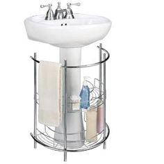 for sure getting this for the girls bathroom! Pedestal Sink Organizer, Under Sink Storage, Curved Wire Shelves | Solutions
