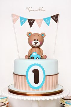Bear Matthew for first birthday - Cake by Alina Vaganova