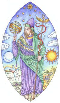 """This is a very traditional descriptive image of Hermes Trismegistus in Egyptian garb with his distinctive headdress. In his right hand he holds an armillary sphere showing his dominion over astrology, the planets and time. In the left an elaborate caduceus, with two intertwined snakes, surmounted by the sigil of Mercury. He is flanked by the Sun and Moon, and by the pyramids and alchemical vessels, plusthe opening lines of the Emerald Tablet """"As Above, so Below""""."""
