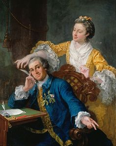 "William Hogarth - David Garrick (1717-79) with his wife Eva-Maria Veigel, ""La Violette"" or ""Violetti"" (1725 - 1822) - 1757-1764  Note the woman's pagoda sleeves, and the man's bag wig."