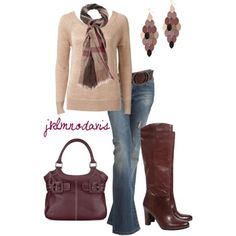 Brown cream and burgundy. Love this combo.