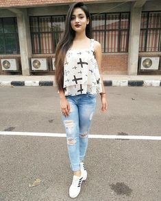 Image may contain: 1 person, standing and shoes Curvy Girl Outfits, Teen Fashion Outfits, Girl Fashion, Cute Outfits, Stylish Girls Photos, Stylish Girl Pic, Honeymoon Outfits, Stylish Dress Designs, Kurti Designs Party Wear