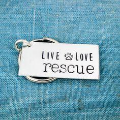 Live Love Rescue - Animal Rescue - Dog Rescue - Cat Rescue - Aluminum Key Chain