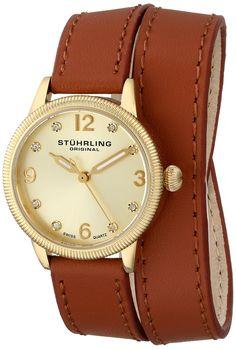 Stuhrling Original Women's 646.02 Vogue Swiss Quartz Crystals Double Wrap Gold Watch