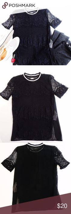 """Sporty Varsity Lace Top Varsity neckline with lace, crochet fishnet and sheer polyester paneling. Cool and trendy piece! Pair with textured leggings or a neoprene skirt to keep with the sporty feel. Front hem is 24"""" length and back extends to 25.5"""". Sz XS. All sheer polyester back. Awesome Chanel inspired piece! 🕶 Sorry 🚫trades! Hollister Tops Blouses"""