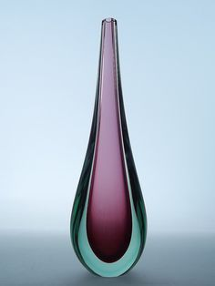 "14"" Murano sommerso cranberry & green tear drop glass vase"
