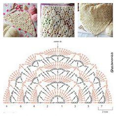 Crochet shawl Elise, pattern by enganchaelganchillo. Happy and magic crochet! Thank you for inspiration :-) Crochet Shawl Diagram, Crochet Chart, Easy Crochet Patterns, Crochet Stitches, Crochet Shawls And Wraps, Crochet Scarves, Crochet Clothes, Shawl Patterns, Stitch Patterns
