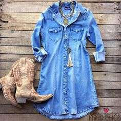 """Our """"The Western Denim Dress"""" is a button up light washed distressed button down denim jean dress. The sleeves can be rolled up for a casual look or left down. There is slight distressing through out the dress, as well as two pockets on the front on the c Country Western Outfits, Country Style Outfits, Country Dresses, Western Style Dresses, Dress Outfits, Cute Outfits, Fashion Outfits, Beach Outfits, Dress Pants"""
