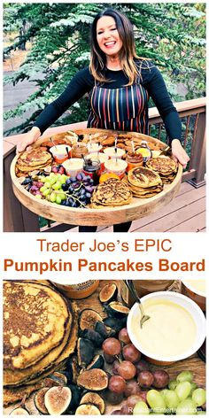 Trader Joes EPIC Pumpkin Pancakes Board for a large breakfast brunch or dinner gathering via Reluctant Entertainer Breakfast Platter, Pumpkin Breakfast, Pumpkin Pancakes, Breakfast Recipes, Breakfast Pancakes, Charcuterie And Cheese Board, Charcuterie Platter, Trader Joes, Antipasto