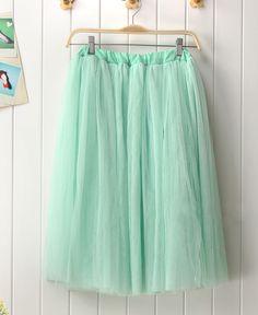 mint green tulle skirt.