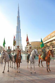 Dubai Police's horse patrol clippety-clops in Downtown Dubai this Eid