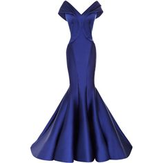 Zac Posen Stretch Duchess Off-The-Shoulder Gown ($8,990) ❤ liked on Polyvore featuring dresses, gowns, blue evening dress, sweetheart gowns, blue ball gown, off the shoulder gown and blue gown