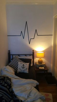 DIY do it yourself wall art/ decal using electrical tape in my bedroom :) heartbeat monitor design