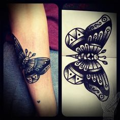 Butterfly tattoo...I actually love this in black and white... July can't come soon enough!