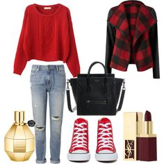 season red by voicuandrada on Polyvore featuring Chicnova Fashion, Parisian, Whistles, Converse, Yves Saint Laurent and Viktor & Rolf
