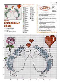 hedgehog love valentine's cross stitch