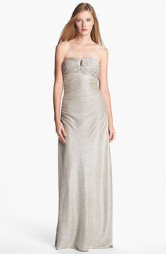 Hailey by Adrianna Papell Metallic Shirred Gown available at #Nordstrom