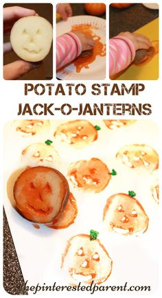 Potato stamp pumpkin jack-o-lanterns. A cute fall and Halloween painting project for the kids. Autumn arts & crafts