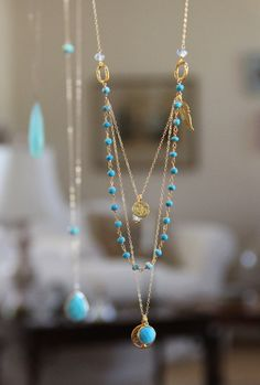 Tree of Life,Long Multi Layer Necklace,Wire Wrapped Turquoise w Blue Topaz, Yoga Ohm,Aqua and Turquoise, Delicate Layering, Gold Feather