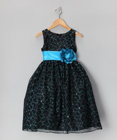 Take a look at the Black & Turquoise Flower Glitter Dress - Toddler & Girls on #zulily today!