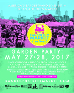 Love Shopping in Chicago? May 27+28, 2017 Kicks off the outside+inside season of #randolphstreetmarket #Chicago - 10am-5pm both days! Kids 12 & Under FREE! www.randolphstree...