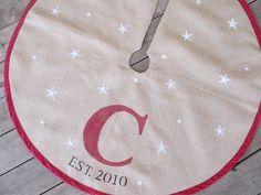 Monogram burlap Christmas tree skirt with stars by FromOldStuff