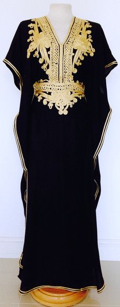 Black & Gold Moroccan Kaftan perfect for summer, beach