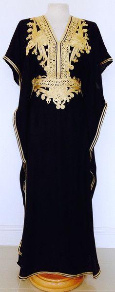 Black & Gold Moroccan Kaftan perfect for summer, beach