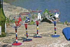 Latitude 38 Nautical Hand Painted Wine Glasses