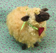 *NEEDLE FELTED ART ~ Twig Sheep with Heart